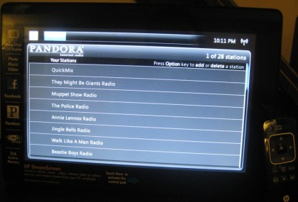 HP DreamScreen Pandora list