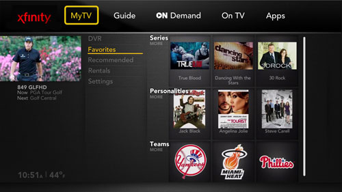 Comcast Xcalibur MyTV guide
