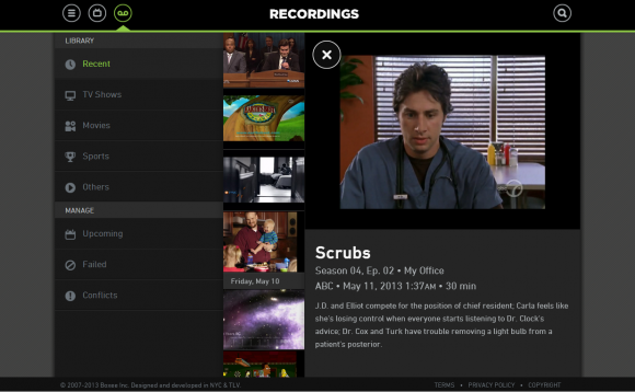 Boxee TV website UI