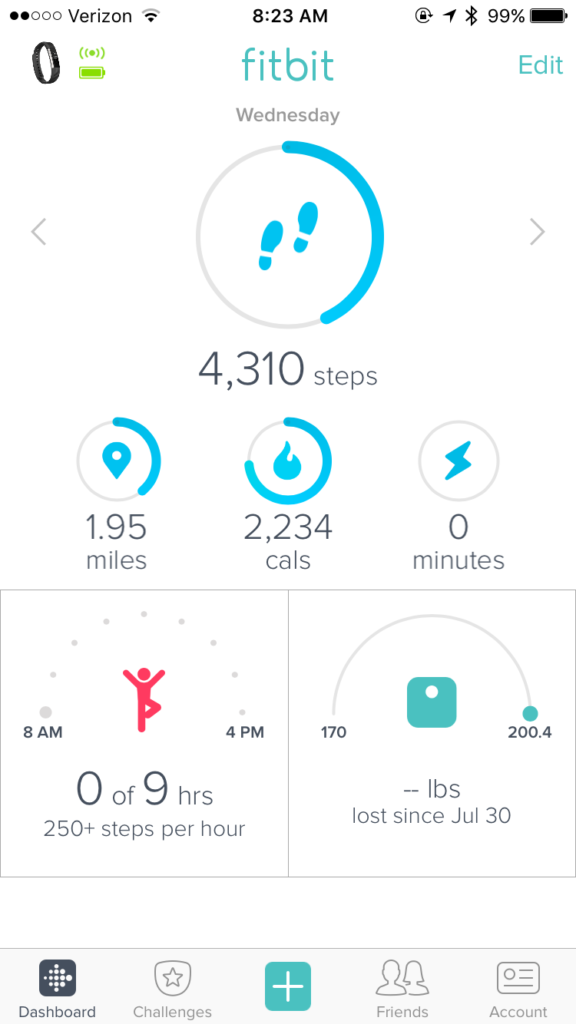 Fitbit iPhone Dashboard Updated (for my new Alta)